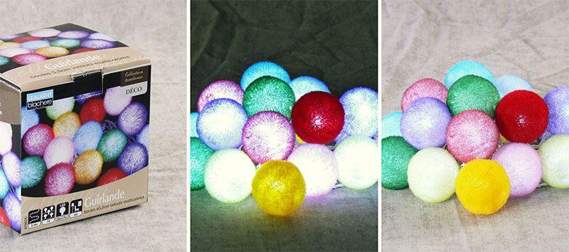 Гирлянда разноцветные пушистые шарики